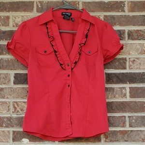 🍒Funky Vintage Red and Black Blouse🍒